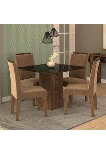 Conjunto De Mesa De Jantar Quadrada Rafaela Com 4 Cadeiras Nicole Suede Pluma E Preto