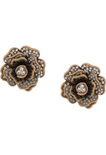 Dolce & Gabbana Par De Brincos Com Aplicação Floral - Dourado