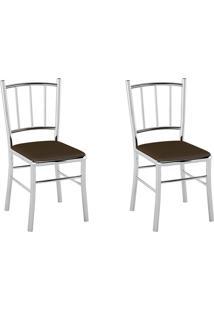 Kit 2 Cadeiras Pc12 Assento Vinil Café - Pozza