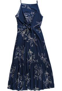 Vestido Longo Com Estampa Floral Azul
