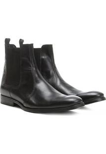 Bota Couro Chelsea Shoestock Bico Redondo Masculina - Masculino-Preto