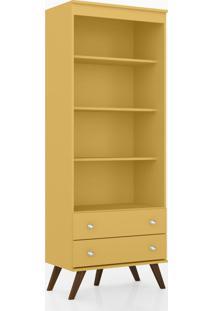 Estante Para Livros 2 Gavetas Retrô Esm 216 Amarelo - Movel Bento