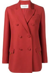 Valentino Double Breasted Blazer - Vermelho