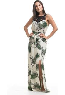 Vestido Clara Arruda Longo Decote Macramê 50422 Bege