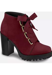 Bota Feminina Ankle Boot Nobuck Tratorada Moleca