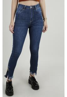 Calça Jeans Feminina Sawary Super Skinny Heart Cintura Alta Com Barra Desfiada Azul Escuro
