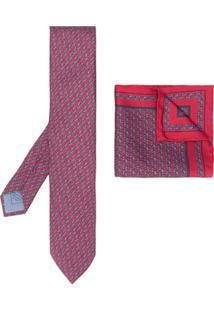 Brioni Conjunto Gravata E Lenço Com Estampa Geométrica - Vermelho
