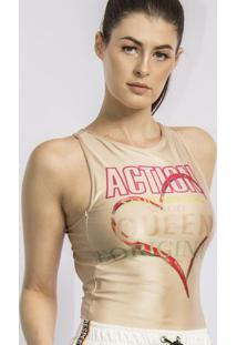 """Body """"Action"""" Acetinado- Bege & Vermelho- Caoscaos"""