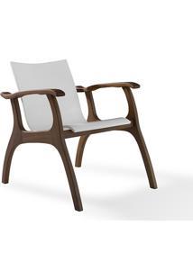 Poltrona Decorativa De Madeira - Poltrona Para Recepção - Verniz Capuccino E Branco - Calvin - 66X77X67 Cm