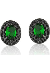 Brinco Le Diamond Cristal Verde Esmeralda