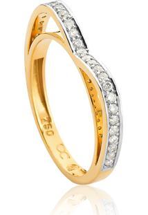 Anel De Ouro 18K Aro Coração Com Diamantes Rodinados.