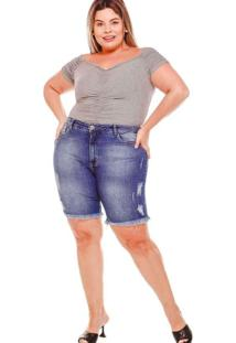 Bermuda Desfiada Almaria Plus Size Fact Jeans Azul