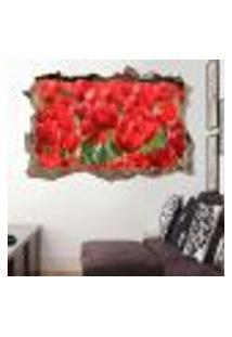 Adesivo Buraco Na Parede Tulipas Vermelhas - Gi 100X155Cm