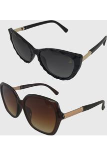 Kit 2 Oculos De Sol Feminino Volpz Quadrado Gatinho Marrom Preto - Kanui