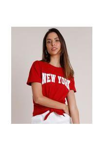 """Blusa Feminina New York"""" Com Nó Manga Curta Decote Redondo Vermelha"""""""