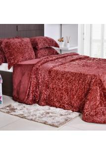 Kit Edredom Slim Peles Com 2 Porta Travesseiros Casal Bordo Roses