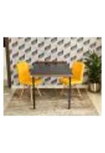 Conjunto De Mesa Dobrável Retrátil 1,40 Preto/Noronha + 2 Cadeiras Gomos - Amarela