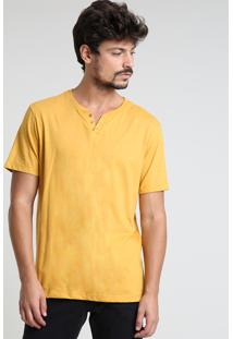 Camiseta Masculina Básica Com Botões Manga Curta Gola Careca Mostarda
