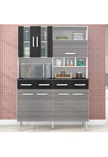 Cozinha Compacta 7 Portas E 4 Gavetas Melissa - Poquema - Grigio / Preto