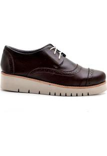 Oxford Top Franca Shoes Casual Feminino - Feminino-Café