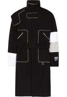 Boramy Viguier Trench Coat Com Mangas Contrastantes - Preto