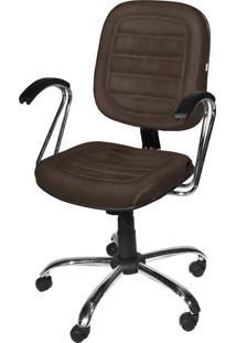 Cadeira Diretor Base Giratã³Ria Cromadagã¡ Marrom - Marrom - Dafiti
