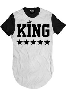 Camiseta Skull Clothing Longline King Black Masculina - Masculino-Branco+Preto
