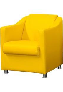 Poltrona Decorativa Para Sala E Escritório Laura L02 Corino Amarelo - Lyam Decor