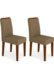 Conjunto Com 2 Cadeiras Amanda I Castanho E Bege