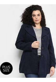 Casaco Facinelli Plus Size Feminino - Feminino-Marinho