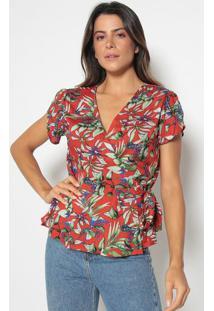 Blusa Floral Com Amarração- Vermelha & Verdevip Reserva