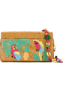 Serpui Clutch Ráfia Bordada - Estampado
