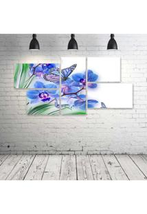 Quadro Decorativo - Flowers-Butterflies-Butterfly-Soft - Composto De 5 Quadros - Multicolorido - Dafiti