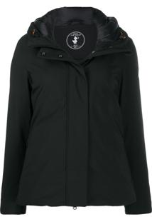 Save The Duck Technical Material Short Zipped Jacket - Preto