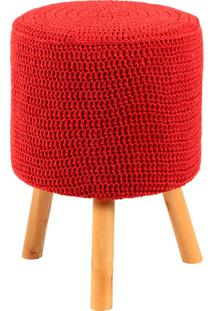 Puff Banqueta Round Crochê - Stay Puff - Vermelho