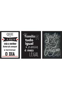 Conjunto Com 3 Quadros Decorativos Smile Preto E Branco