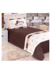 Kit Cobre Leito Infantil Tabaco Menino Horse Matelado 3 Peças 2,50M X 1,80M Com Porta Travesseiro