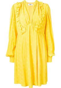 Msgm Vestido Com Babados - Amarelo