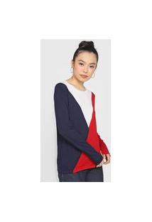 Blusa Lunender Color Block Vermelha/Azul-Marinho