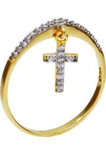 Anel Pingente Cruz Cravejada Zircã´Nia - Dourado - Feminino - Dafiti