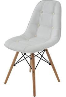 Cadeira Eames Eiffel Botone Branca Base Madeira - 27021 - Sun House