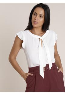 Blusa Feminina Com Babado Gola Laço Manga Curta Branca