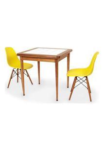 Conjunto Mesa De Jantar Em Madeira Imbuia Com Azulejo + 2 Cadeiras Eames Eiffel - Amarelo