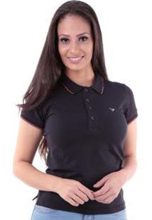 Camisa Polo Slim Meia Malha Com Elastano Traymon Feminina - Feminino-Preto