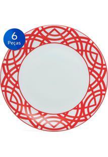 Conjunto Pratos Rasos Helena 6 Peças - Schmidt - Branco / Vermelho