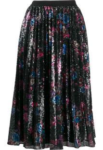Pinko Vestido Midi Floral Com Paetês - Preto