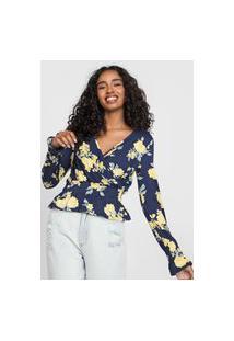Blusa Enfim Floral Azul-Marinho