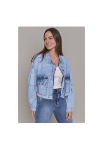 Jaqueta Jeans Dialogo Cropped Marmorizado Com Botões Frontais