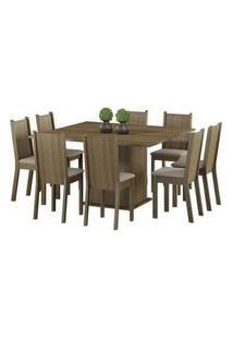 Conjunto Sala De Jantar Clarice Madesa Mesa Tampo De Madeira Com 8 Cadeiras Rustic/Pérola Rustic/Pérola