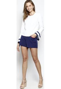 Blusa Lisa Manga Sino- Branca & Azul Marinhodbz Jeans